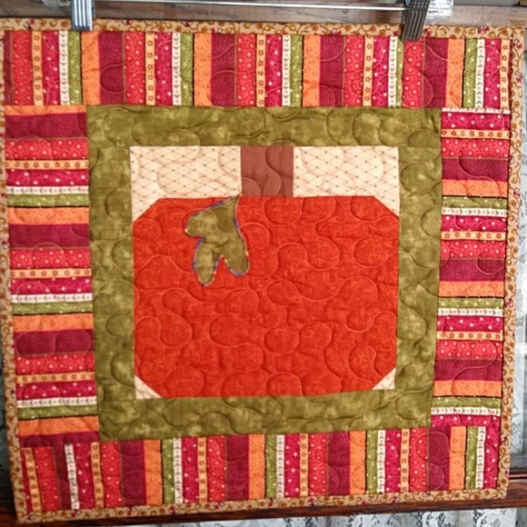 Other - Fall Pumpkin Wall Hanging Table Topper Quilted